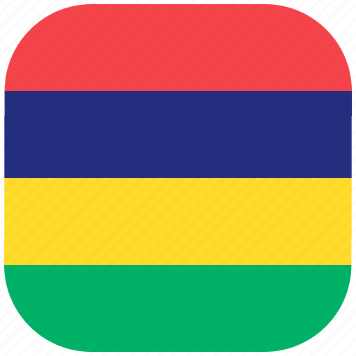 country, flag, mauritius, national, rounded, square icon
