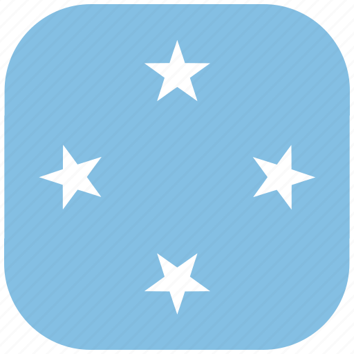 country, flag, micronesia, national, rounded, square icon