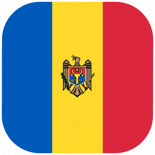country, flag, moldova, national, rounded, square icon