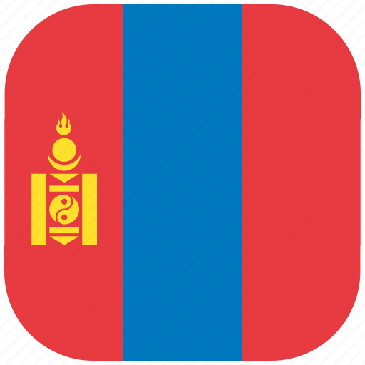 country, flag, mongolia, national, rounded, square icon