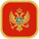 country, flag, montenegro, national, rounded, square icon