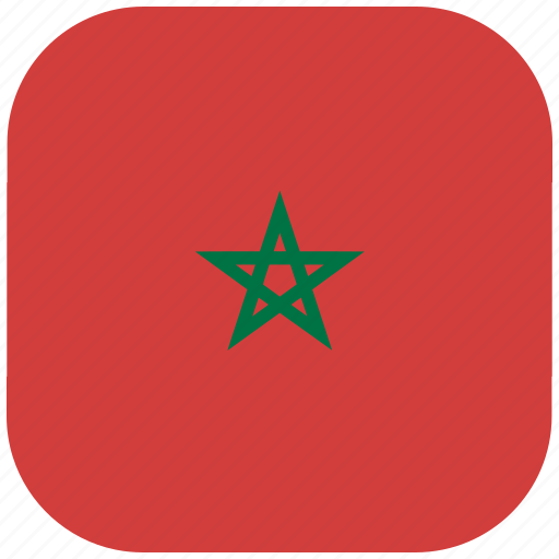 country, flag, morocco, national, rounded, square icon