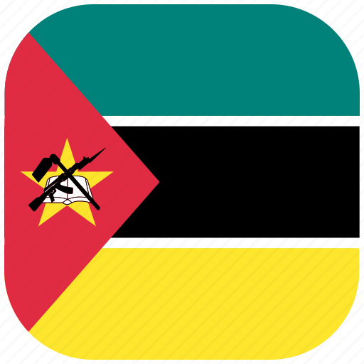 country, flag, mozambique, national, rounded, square icon