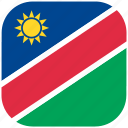 country, flag, namibia, national, rounded, square icon