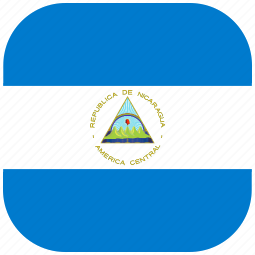 country, flag, national, nicaragua, rounded, square icon