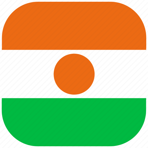 country, flag, national, niger, rounded, square icon