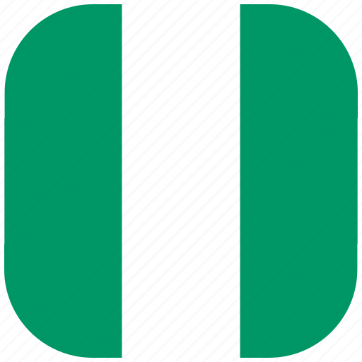 country, flag, national, nigeria, rounded, square icon