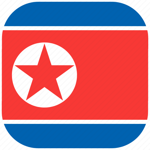country, flag, korea, national, north, rounded, square icon