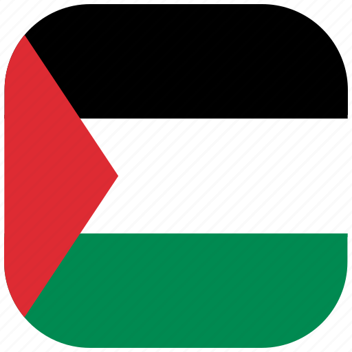 country, flag, national, palestine, rounded, square icon