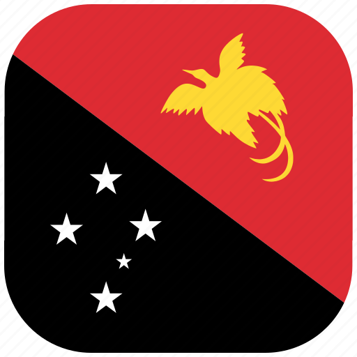 flag, guinea, national, new, papua, rounded, square icon