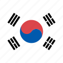 country, flag, korea, national, rounded, south, square