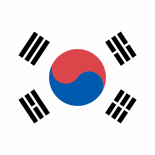 country, flag, korea, national, rounded, south, square icon