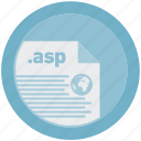 asp, document, extension, file, format, round, roundettes icon