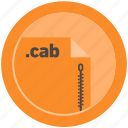 cab, document, extension, file, format, round, roundettes icon