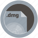 dmg, document, extension, file, format, round, roundettes icon