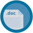 doc, document, extension, file, format, round, roundettes