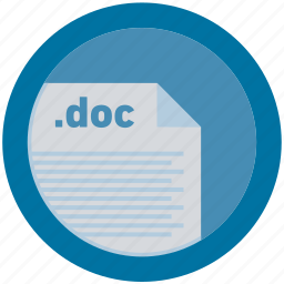 doc, document, extension, file, format, round, roundettes icon