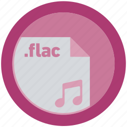 document, extension, file, flac, format, round, roundettes icon
