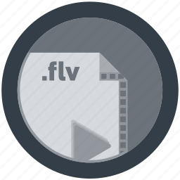 document, extension, file, flv, format, round, roundettes icon