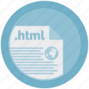 document, extension, file, format, html, round, roundettes