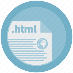 document, extension, file, format, html, round, roundettes icon