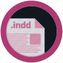 document, extension, file, format, indd, round, roundettes icon