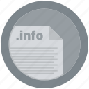 document, extension, file, format, info, round, roundettes icon