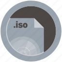document, extension, file, format, iso, round, roundettes icon
