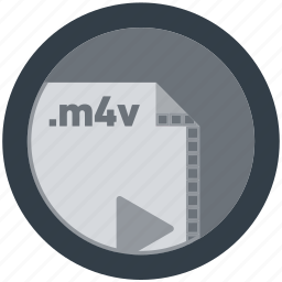 document, extension, file, format, m4v, round, roundettes icon
