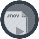 document, extension, file, format, mov, round, roundettes icon