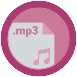 document, extension, file, format, mp3, round, roundettes icon