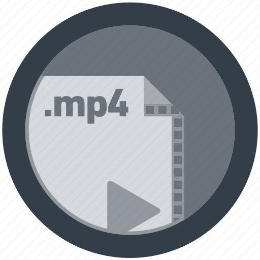 document, extension, file, format, mp4, round, roundettes icon