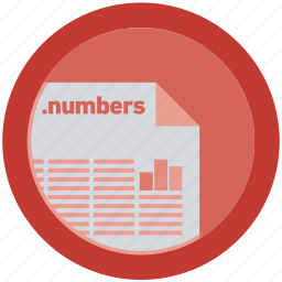 document, extension, file, format, numbers, round, roundettes icon