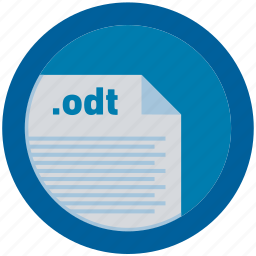 document, extension, file, format, odt, round, roundettes icon