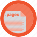 document, extension, file, format, pages, round, roundettes icon