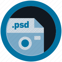 document, extension, file, format, psd, round, roundettes icon