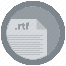 document, extension, file, format, round, roundettes, rtf icon