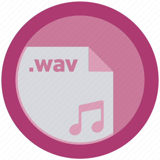 document, extension, file, format, round, roundettes, wav icon