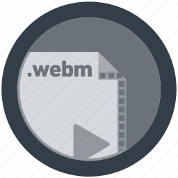 document, extension, file, format, round, roundettes, webm icon