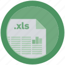 document, extension, file, format, round, roundettes, xls icon