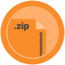 document, extension, file, format, round, roundettes, zip icon