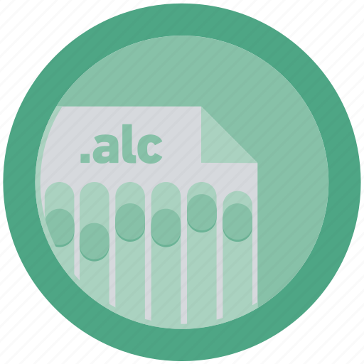 alc, document, extension, file, format, round, roundettes icon