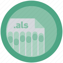als, document, extension, file, format, round, roundettes icon