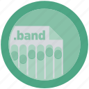 band, document, extension, file, format, round, roundettes icon