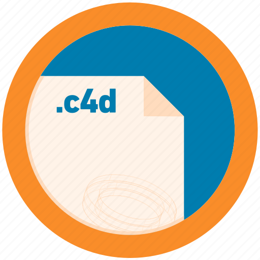 c4d, document, extension, file, format, round, roundettes icon