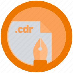 cdr, document, extension, file, format, round, roundettes icon