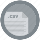 csv, document, extension, file, format, round, roundettes icon
