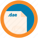 dae, document, extension, file, format, round, roundettes icon