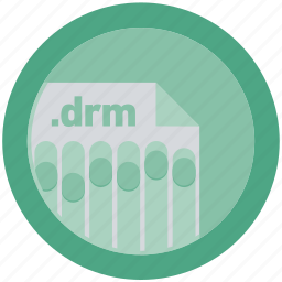 document, drm, extension, file, format, round, roundettes icon
