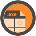 document, exe, extension, file, format, round, roundettes